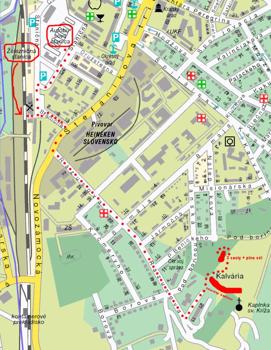mapa z vlakovej/autobusovej stanice